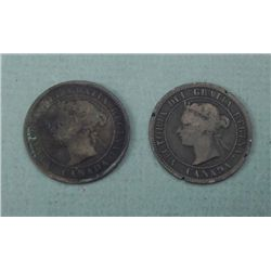 2 Canada Large Cents 1882 & 1884