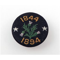 Antique Hand Embroidered Commemorative Button 1844-1894