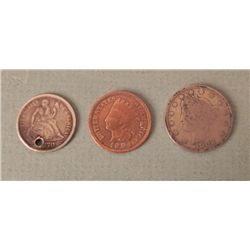 3 US Coins 1870 Dime (Holed) 1902 Nickel 1904 Cent