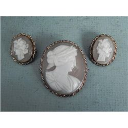 Set of 3 Antique Genuine Cameo Brooches Pins