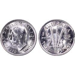 1944-S Threepence Mint Error PCGS MS65 Rim Clip
