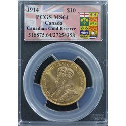 Canada $10 1914 MS 64, Includes Box & Mint Cerificate