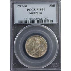 1917-M Shilling PCGS MS64