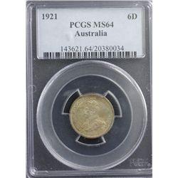 1921 Sixpence PCGS MS64