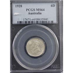 1928 Sixpence PCGS MS64