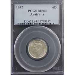 1942 Sixpence PCGS MS63