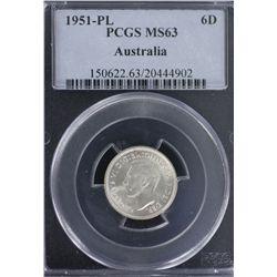 1951-PL Sixpence PCGS MS63