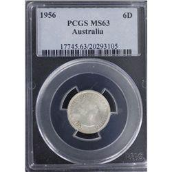 1956 Sixpence PCGS MS63