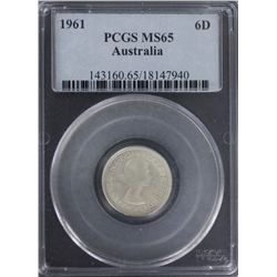 1961 Sixpence PCGS MS65