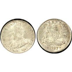 1927(m) Threepence PCGS MS64