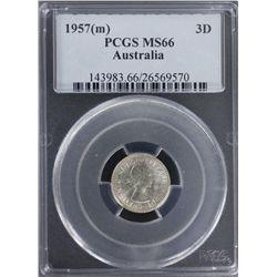 1957 Threepence PCGS MS66