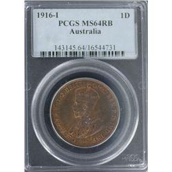 1916-I Penny PCGS MS64RB