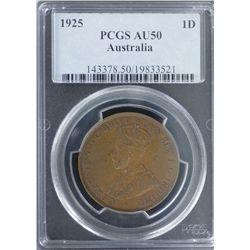 1925 Penny PCGS AU50