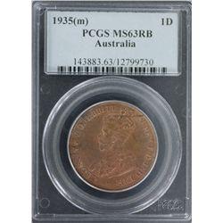 1935(m) Penny PCGS MS63RB