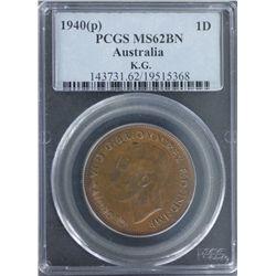 1940(p) Penny PCGS MS62BN