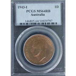 1943-I Penny PCGS MS64RB