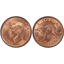 1949(m) Penny PCGS MS63RB