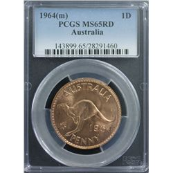 1964 Penny PCGS MS65 Red