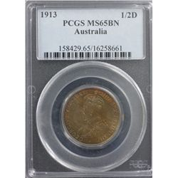 1913 ½ Penny PCGS MS65 BN