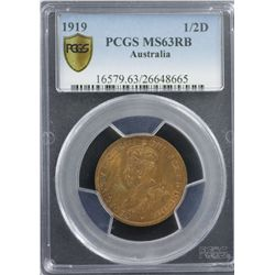 1919 ½ Penny PCGS MS63RB