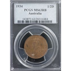 1934 ½ Penny PCGS MS63RB