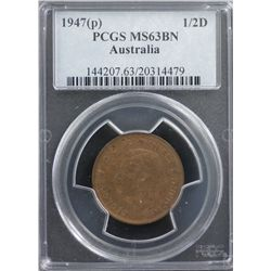 1947(p) ½ Penny PCGS MS63BN