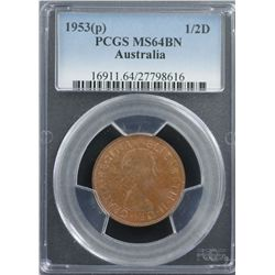 1953 ½ Penny PCGS MS64RB