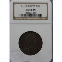 Great Britain 1772 ½ Penny PCGS MS62BN