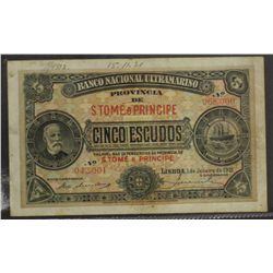 National Bank Specimen Five Escudos 1st Jan 1921