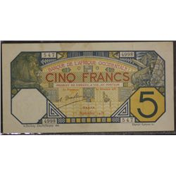 Five Francs Dakar 1st Sept 1932 VF