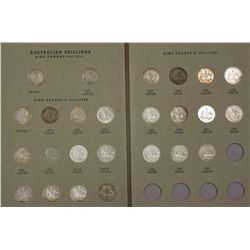 Complete Set of Australian Shillings 1910 to 1963, see grades