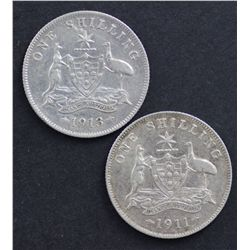 1911 Shilling Good VF, 1913 Shilling Fine