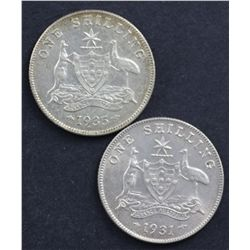 1931 Shilling, 1935 Shilling Nearly UNC