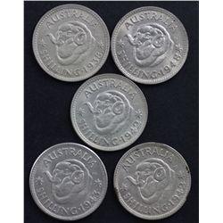 1938 Shilling, 1948 Shilling, 1943 Shilling, 1942s Shilling and 1942m Shilling