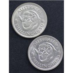 1950 Shilling, 1952 Shilling Choice UNC