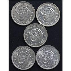Elizabeth II Shillings 1953-1963 Brilliant UNC