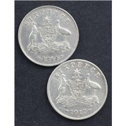 1914 Sixpence and 1917 Sixpence