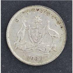 1934 and 1935 Sixpence