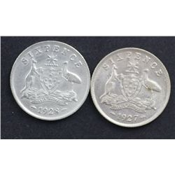 1927 and 1928 Sixpences
