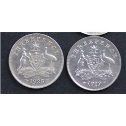 Australia Threepence's 1919 and 1925 EF