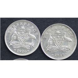 Australia Threepence's 1926 and 1935 EF
