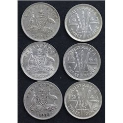 Australia Threepence's 1943, 1943D, 1927, 1934 and 1936