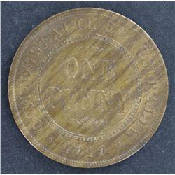 Australia 1919 Plain Penny UNC