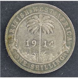 British West Africa 1914 Shilling Nearly UNC