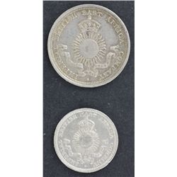 Mombasa 2 Annas 1890, ¼ Rupee 1890 EF