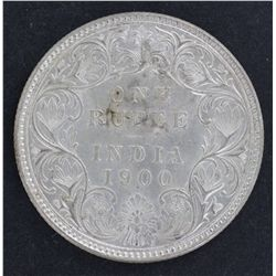 India 1 Rupee 1900 Nearly UNC
