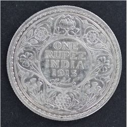 India 1 Rupee 1913 Nearly UNC