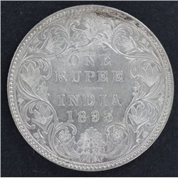 India 1 Rupee 1893 Nearly UNC