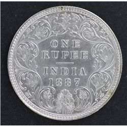 India 1 Rupee 1887 Nearly UNC