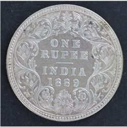 India 1 Rupee 1889 Nearly UNC